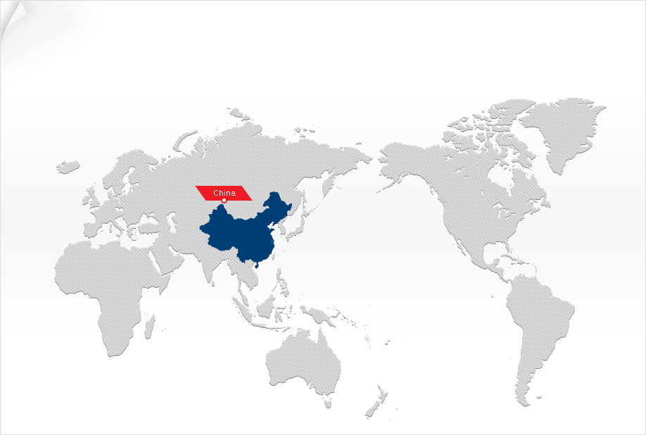 World map showing China